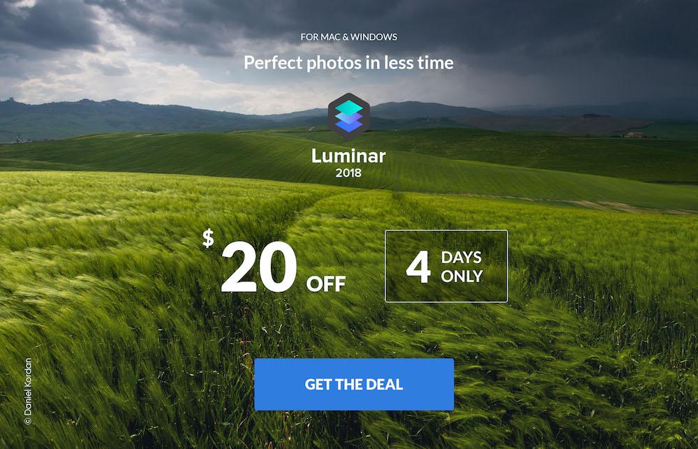 Luminar 2018 4 Day Flash Sale | Save $20