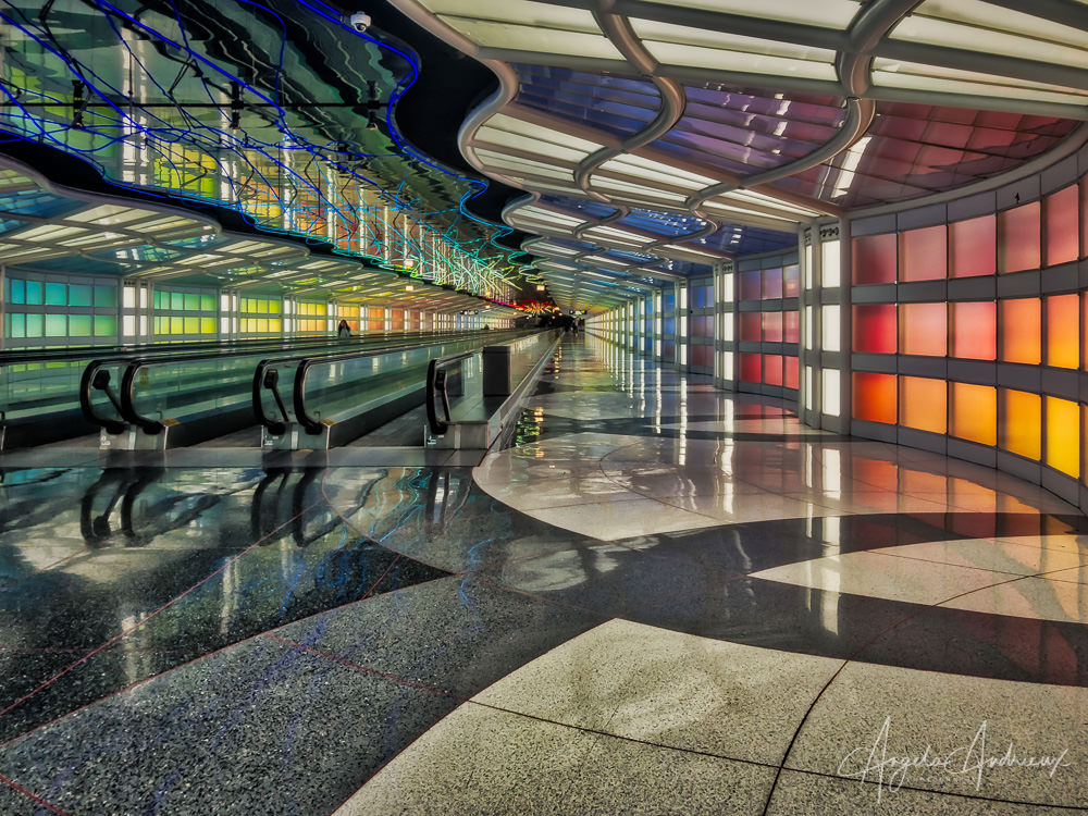 Sky's the Limit by Michael Hayden | public art installation combining music and color in Chicago's O'Hare airport ORD