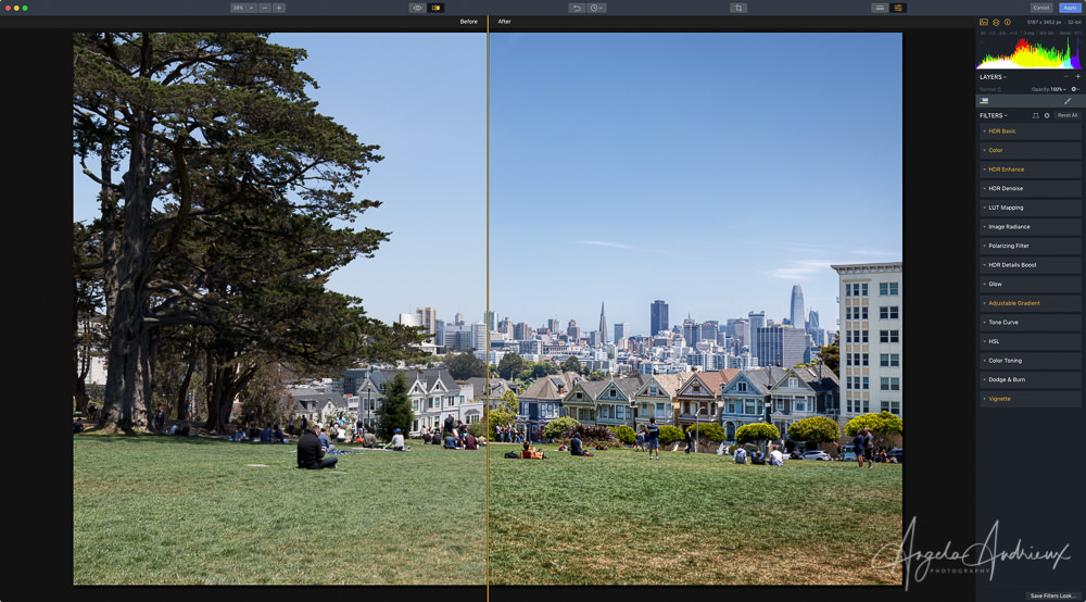 Before/After Screenshot in Aurora HDR 2019