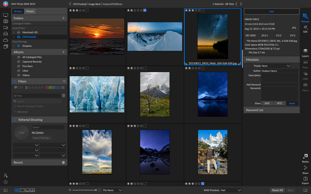 On1 Photo RAW 2019 Browse