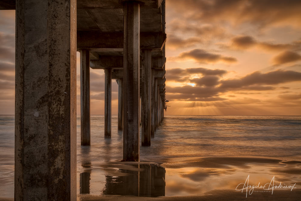 Scripps Pier in La Jolla, CA at sunset processed with Aurora HDR 2019