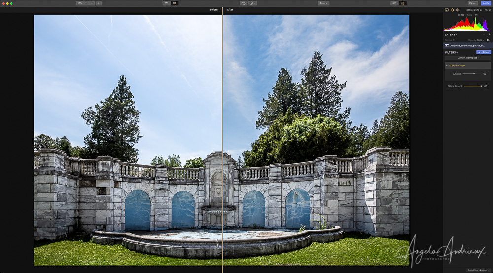 Before/After Screenshot of Luminar 2018 with the AI Sky Enhancer Filter