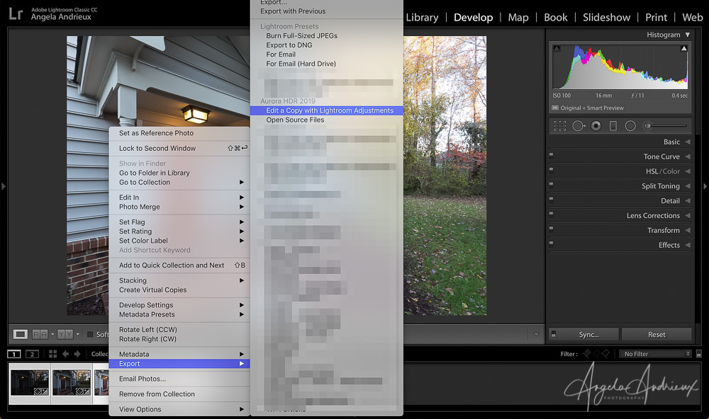 Export bracketed images from Lightroom to Aurora HDR