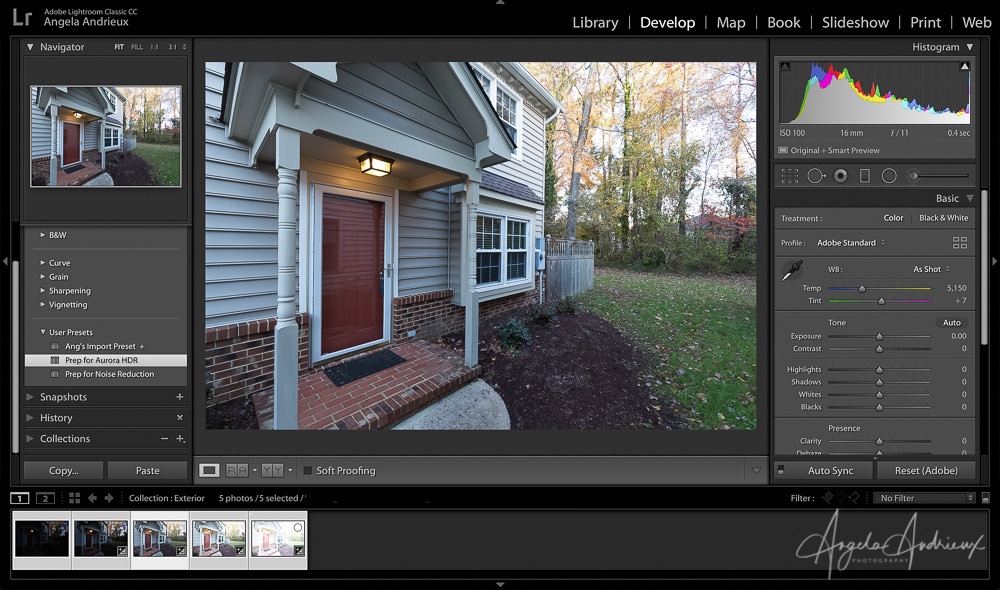 Apply the Prep for Aurora HDR Preset in Lightroom