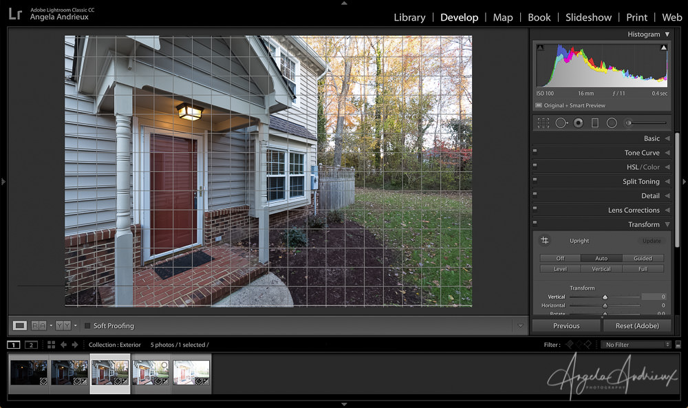 Apply Transform tool in Lightroom