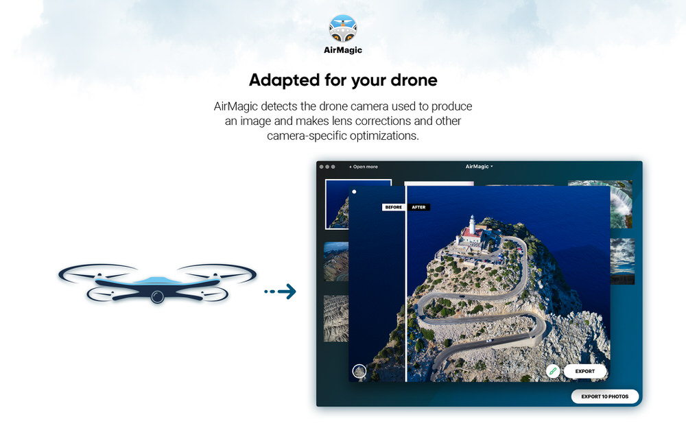 AirMagic by Skylum Software automatically detects the drone camera used to produce an image and makes lens corrections and other camera-specific optimizations.