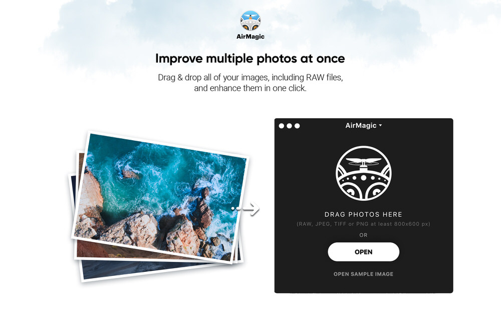 AirMagic by Skylum Software features a Drag and Drop User Interface similar to Photolemur