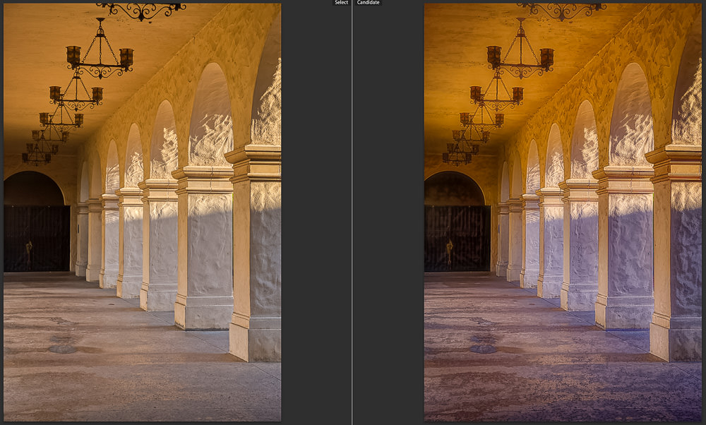 Corridor at Balboa Park | San Diego | California | Before and After Topaz Adjust AI