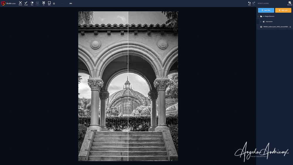 Balboa Park Before and After Screenshot in Topaz Studio 2
