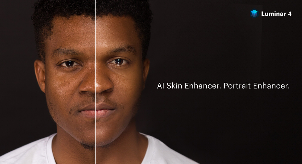 Before and After AI Portrait Enhancer in Luminar 4