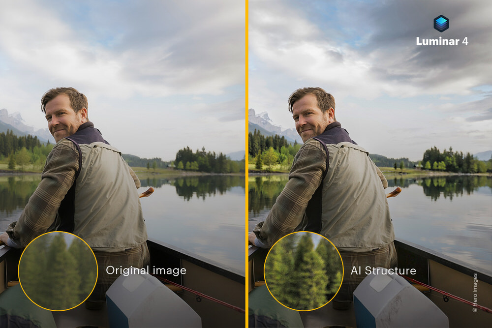 Before and After AI Structure in Luminar 4 by Skylum Software