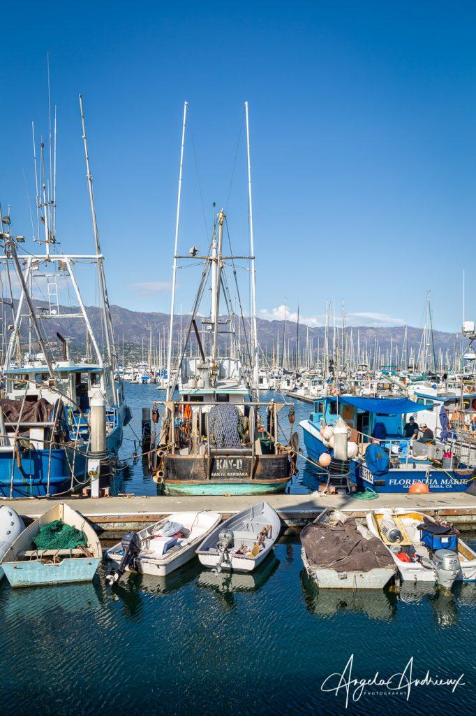 Dinghies and Fishing Boats in the Santa Barbara Harbor