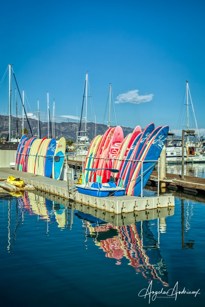 Paddle-boards and reflections in the Santa Barbara Harbor