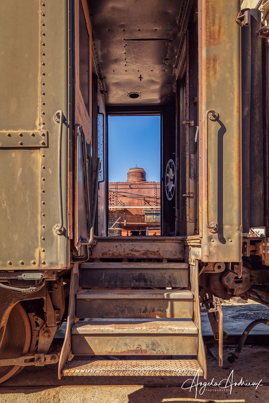 Peering through at the Pacific Southwest Railway Museum in Campo, California