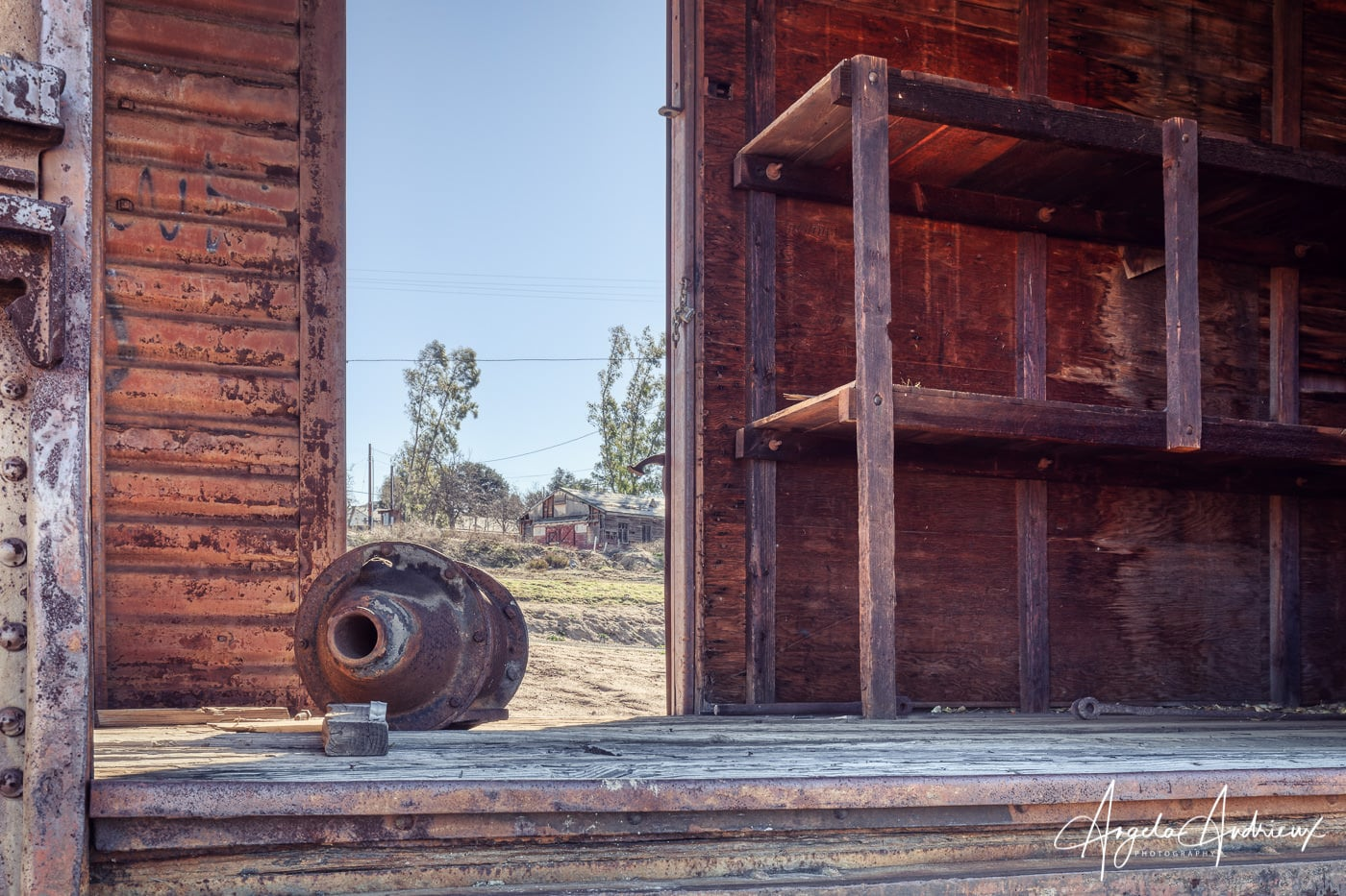 Peering through an open rail car at the Pacific Southwest Railway Museum in Campo, California