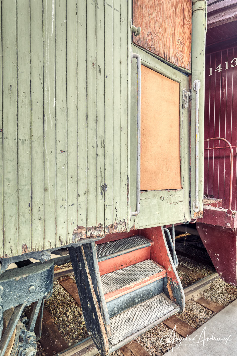 Rail car textures and colors at the Pacific Southwest Railway Museum in Campo, California