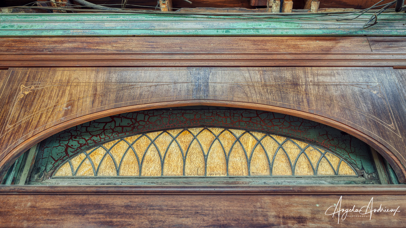 Woodwork and stained glass in an old private rail car at the Pacific Southwest Railway Museum in Campo, California