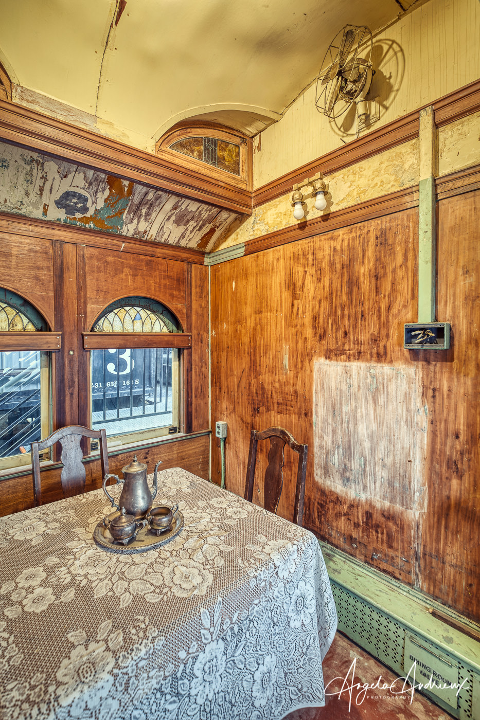 Priviate Dining Room in a private railway carriage at the Pacific Southwest Railway Museum in Campo, California