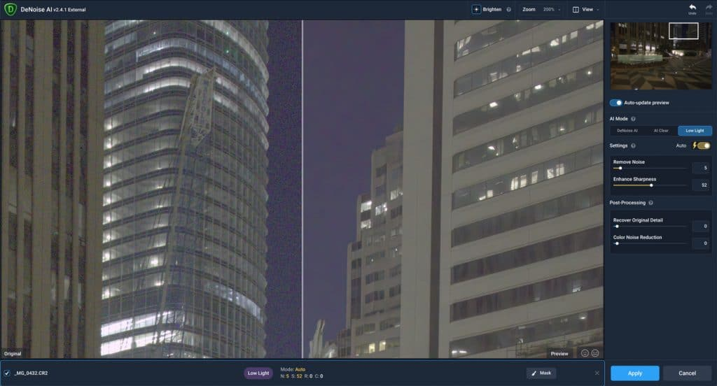 Before and after split screen view in Topaz DeNoise AI