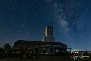Campo Motor Transport Museum at night with the Milky Way
