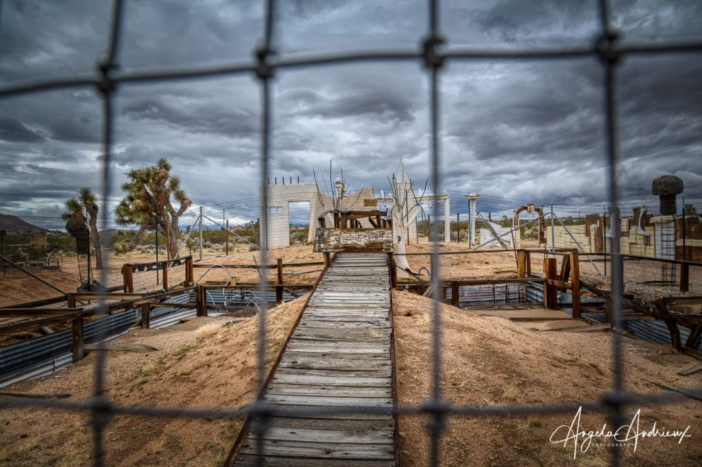 Fenced off area at The Noah Purifoy Outdoor Museum
