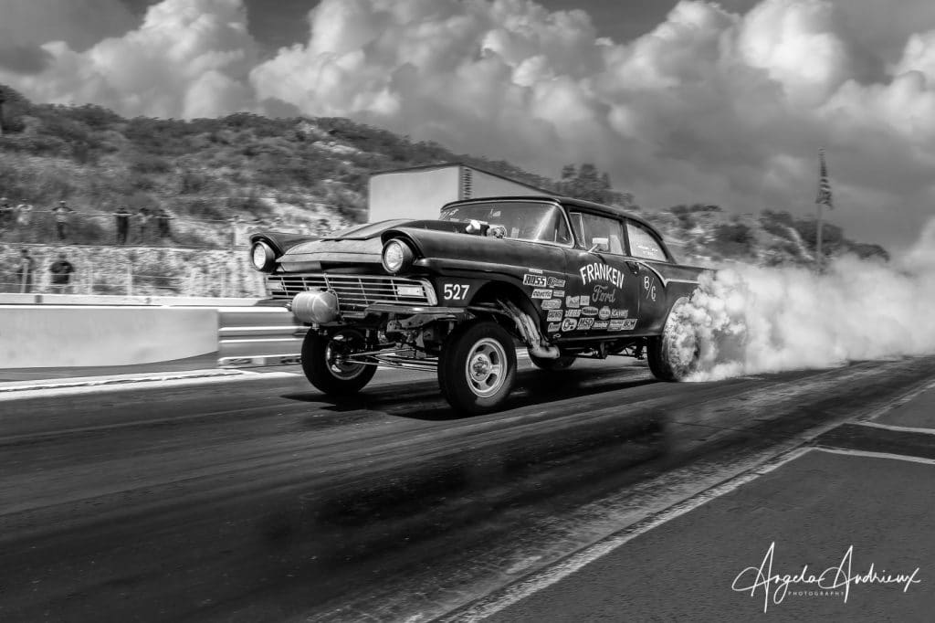 Franken Ford does a burn out at the Barona Drags